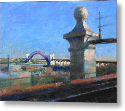 Approaching Hell Gate Bridge By Rail Metal Print