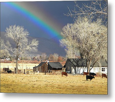 Approaching Storm At Cattle Ranch Metal Print by Frank Wilson