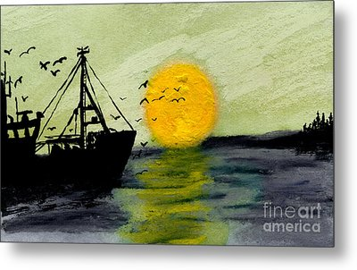 Approaching The Inlet Metal Print by R Kyllo