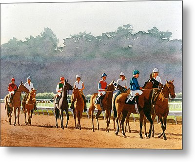Approaching The Starting Gate Metal Print by Mary Helmreich