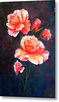 Apricot Rose Metal Print by Renate Voigt