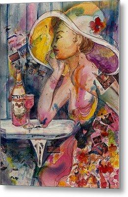Metal Print featuring the painting April In Paris by Elaine Elliott