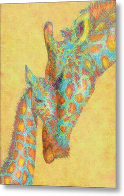 Aqua And Orange Giraffes Metal Print by Jane Schnetlage