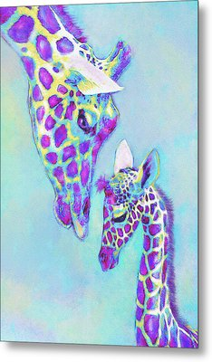 Aqua And Purple Loving Giraffes Metal Print by Jane Schnetlage