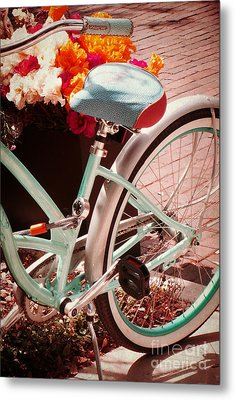 Metal Print featuring the digital art Aqua Bicycle by Valerie Reeves