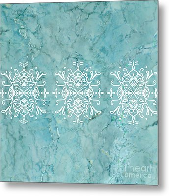 Aqua Blue Marble-royal White Metal Print
