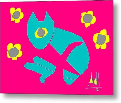 Aqua Cat Metal Print by Anita Dale Livaditis