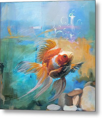 Aqua Gold Metal Print by Catf