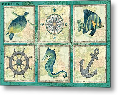 Aqua Maritime Patch Metal Print