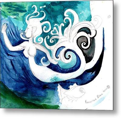 Aqua Mermaid Metal Print by Genevieve Esson