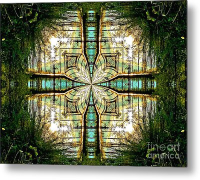 Kaleidoscope Aqua Sunrise Metal Print