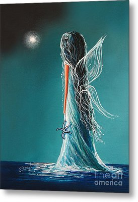 Aquamarine Fairy By Shawna Erback Metal Print by Shawna Erback