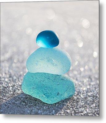 Aquamarine Ice Light Metal Print by Barbara McMahon