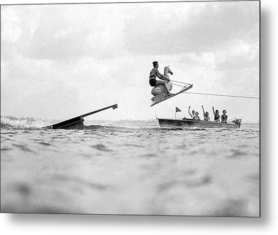 Aquaplane Champ And His Horse Metal Print by Underwood Archives