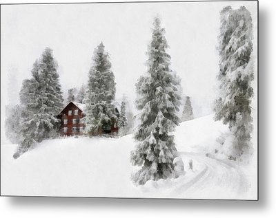 Aquarell - Beautiful Winter Landscape With Trees And House Metal Print