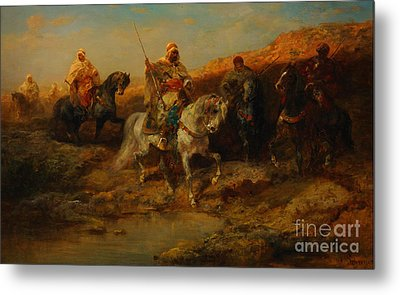 Arab Horsemen By An Oasis Metal Print by Celestial Images