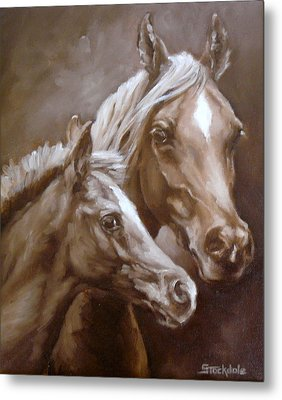 Metal Print featuring the painting Arab Mare And Foal by Margaret Stockdale
