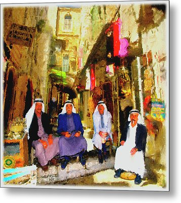 Metal Print featuring the painting Arab Merchants Of Jerusleum by Ted Azriel