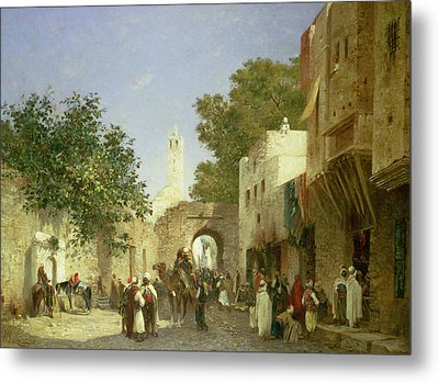 Arab Street Scene Metal Print by Honore Boze