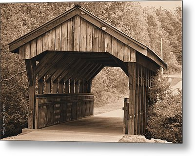 Arabia Mountain Covered Bridge Metal Print by Tara Potts