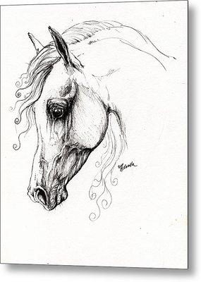 Arabian Horse Drawing 15 Metal Print by Angel  Tarantella