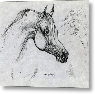 Arabian Horse Drawing 28 Metal Print by Angel  Tarantella