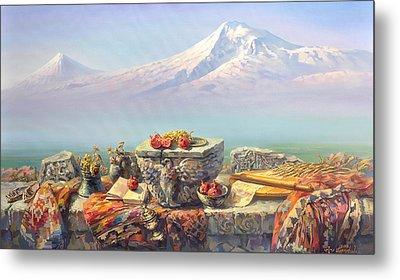 Ararat With A Lavash Metal Print
