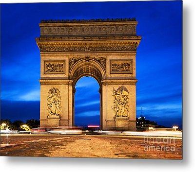 Arc De Triomphe At Night Paris France  Metal Print