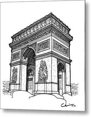 Metal Print featuring the drawing Arc De Triomphe by Calvin Durham
