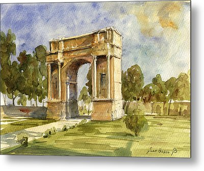 Arch Triumphal Of Antonius Pius At Tunisia Metal Print by Juan  Bosco