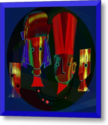 Archaic Heads - 837 Metal Print by Irmgard Schoendorf Welch