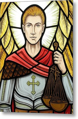 Metal Print featuring the glass art Archangel Michael Detail by Gilroy Stained Glass