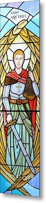 Metal Print featuring the glass art Archangel Michael by Gilroy Stained Glass