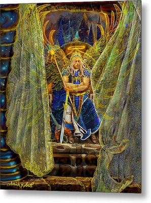 Metal Print featuring the painting Archangel Michael-angel Tarot Card by Steve Roberts