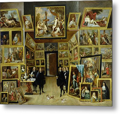 Archduke Leopold Wilhelm 1614-61 In His Picture Gallery, C.1647 Oil On Copper Metal Print by David the Younger Teniers