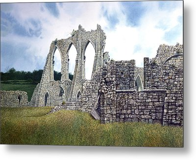 Metal Print featuring the painting Arches Of Bayham Abbey by Tom Wooldridge