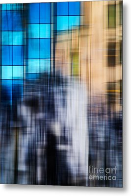 Architectural Abstract In Bright Blue Metal Print by Emilio Lovisa