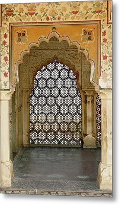 Architectural Details, Amber Fort Metal Print by Adam Jones