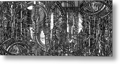 Architectural Utopia 4 Fragment Metal Print by Serge Yudin