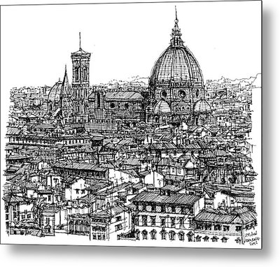 Architecture Of Florence Skyline In Ink  Metal Print by Adendorff Design