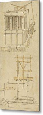 Architecture With Indoor Fountain From Atlantic Codex  Metal Print by Leonardo Da Vinci