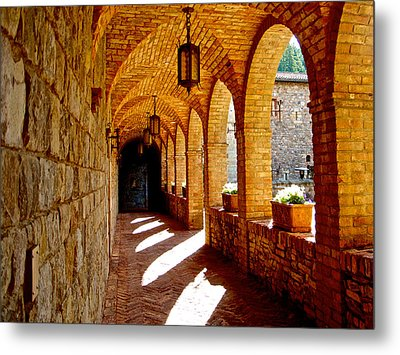 Archway By Courtyard In Castello Di Amorosa In Napa Valley-ca Metal Print by Ruth Hager