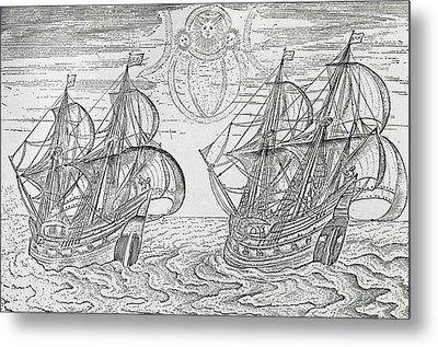 Arctic Phenomena From Gerrit De Veer S Description Of His Voyages Amsterdam 1600 Metal Print by Netherlandish School