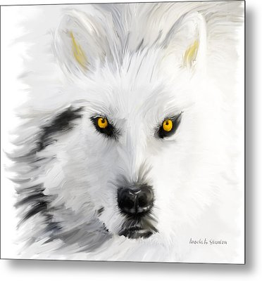 Arctic Wolf With Yellow Eyes Metal Print by Angela A Stanton