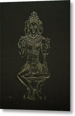 Metal Print featuring the drawing Ardhanarishvara I by Michele Myers
