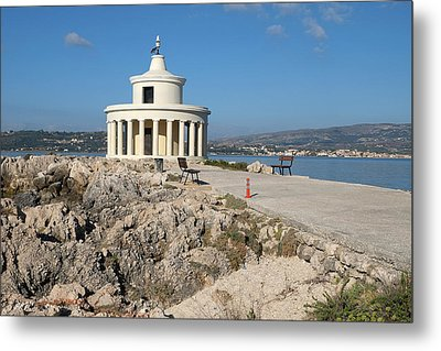 Argostolion Greece Lighthouse Metal Print by John Jacquemain