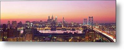 Arial View Of The City At Twilight Metal Print by Panoramic Images