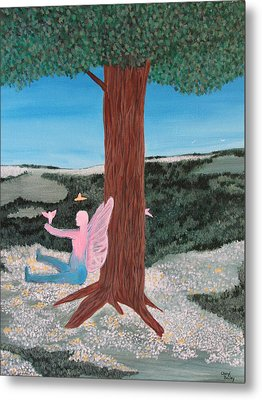 Metal Print featuring the painting Ariel And The Tree Of Life by Cheryl Bailey