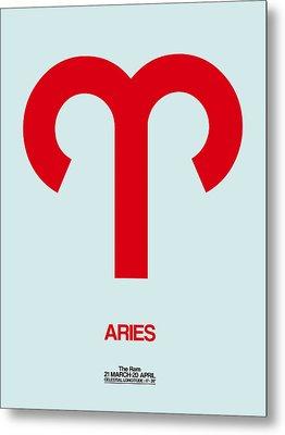 Aries Zodiac Sign Red Metal Print by Naxart Studio