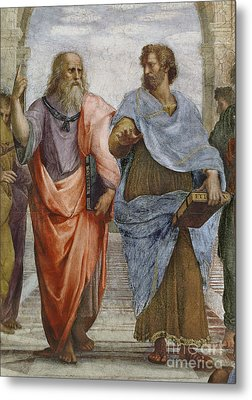 Aristotle And Plato Detail Of School Of Athens Metal Print by Raffaello Sanzio of Urbino
